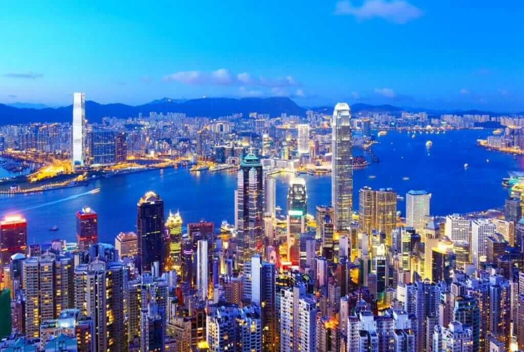 hongkong, luci, night, light, peak, view